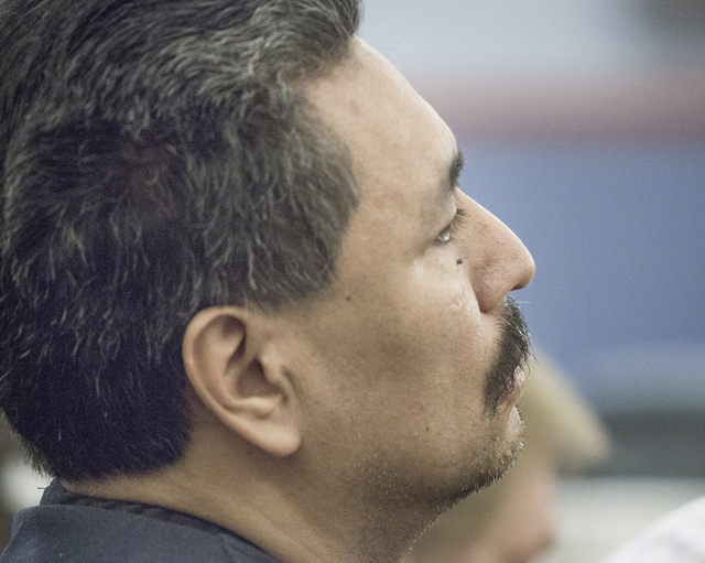 Sergio Garcia-Carrizales during sentencing at Regional Justice Center on Wednesday, April 9, 2014. He will be serving a maximum fives year in prison for  the 1993 attempted battery on Lawrence Com ...