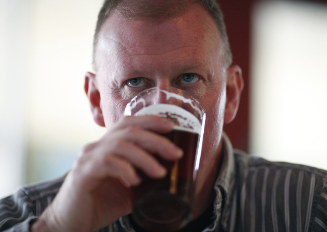 Robert Baker drinks a beer at Banger Brewing in downtown Las Vegas on April 4. (John Locher/Las Vegas Review-Journal)