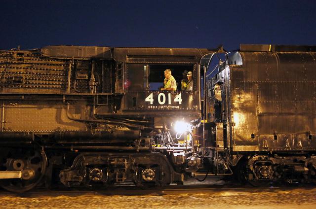 The historic steam locomotive Big Boy No. 4014 arrives at Union Pacific Tuesday, April 29, 2014, in Las Vegas.  (Ronda Churchill/Las Vegas Review-Journal)