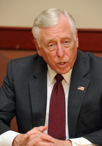 U.S. House minority whip Steny Hoyer, D-Md., answers questions after a meeting with labor leaders at the Culinary Training Academy in Las Vegas, Monday, April 21, 2014.  (Jerry Henkel/Las Vegas Re ...
