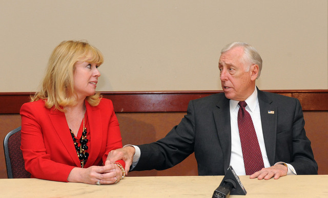 Nevada congressional candidate Erin Bilbray and U.S. House minority whip Steny Hoyer, D-Md., answer questions after a meeting with labor leaders at the Culinary Training Academy in Las Vegas, Mond ...