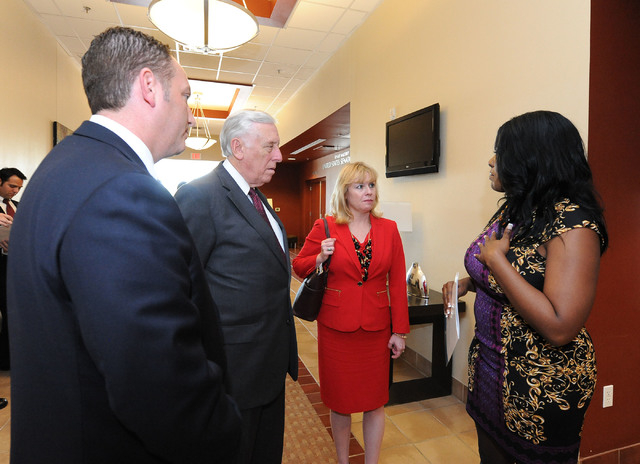 U.S. House minority whip Steny Hoyer, D-Md., second from left, and Nevada congressional candidate Erin Bilbray, second from right, tour the Culinary Training Academy in Las Vegas, Monday, April 21 ...