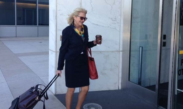 Defense lawyer Kathleen Bliss enters the Lloyd George Federal Courthouse on Tuesday. (Jeff German/Las Vegas Review-Journal)