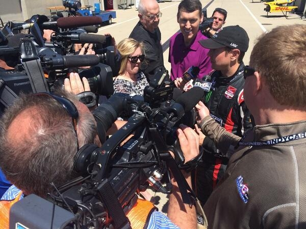 Las Vegas native Kurt Busch is the center of media attention Tuesday after posting laps during his refresher test at Indianapolis Motor Speedway. (Andretti Autosport)