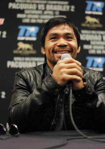 Fighter Manny Pacquiao answers a question during a press conference prior to his rematch with Timothy Bradley at the MGM Grand in Las Vegas on April 9, 2014. (Jason Bean/Las Vegas Review-Journal)
