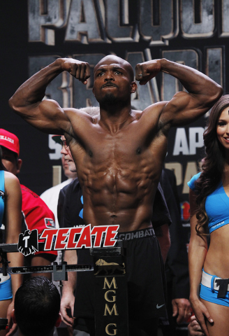 Boxer Timothy Bradley poses while getting weighed in prior to his rematch against Manny Pacquiao at the MGM Grand Garden Arena in Las Vegas on April 11, 2014. (Jason Bean/Las Vegas Review-Journal)