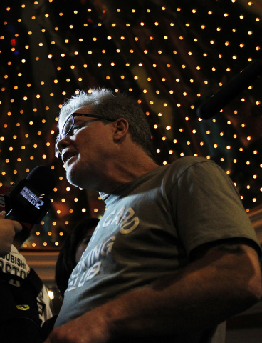 Boxer Manny Pacquiao's trainer Freddie Roach speaks to the media while arriving at the MGM Grand in Las Vegas on April 8, 2014. (Jason Bean/Las Vegas Review-Journal)