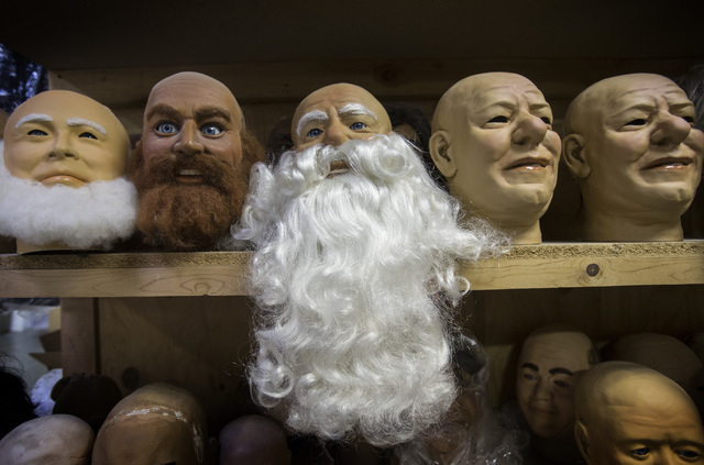 Faces line a shelf at Characters Unlimited on April 1. (Jeff Scheid/Las Vegas Review-Journal)