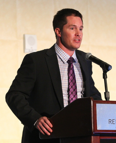 Southern Nevada Home Builders Association President Rob McGibney speaks during the Silver Nugget Awards. (Chase Stevens/Las Vegas Business Press)