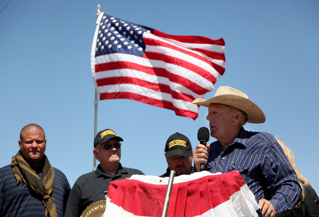 Cliven Bundy addresses a crowd of around 150 during a press conference at the protest camp near his ranch in Bunkerville on Monday, April 14, 2014. (Justin Yurkanin/Las Vegas Review-Journal)