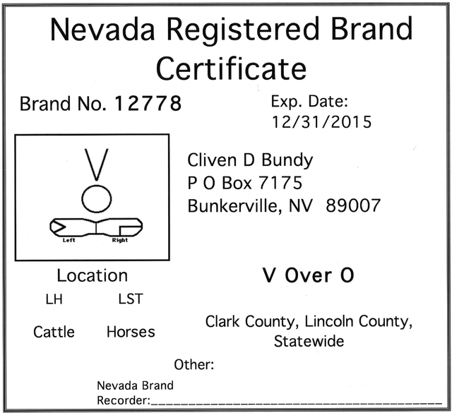 The Nevada Registered Brand Certificate for embattled rancher Clive Bundy. (courtesy photo April 2014 to the Las Vegas Review-Journal)
