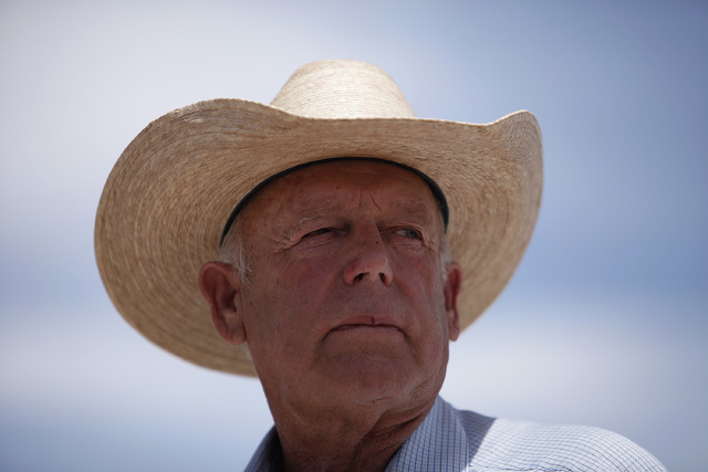 Rancher Cliven Bundy speaks at a protest area near Bunkerville on Wednesday, April 16, 2014.  (John Locher/Las Vegas Review-Journal)
