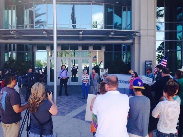 About 40 protesters gathered in front of the Las Vegas Metropolitan Police Department on Friday afternoon asking Clark County Sheriff Doug Gillespie to intervene in the cattle dispute between Cliv ...