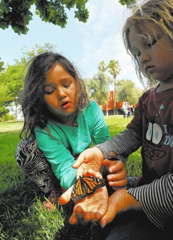 """Maylee DeLee, left, shares a butterfly with her brother Mason DeLee while the two attended the Nathan Adelson Hospice's """"Celebration of Life"""" butterfly release at UNLV on Sunday, April 2 ..."""