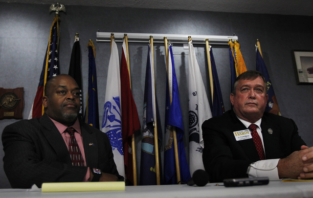 Republican Congressional District 4 candidates Niger Innis ,left, and Cresent Hardy engage in a debate at the Mesquite Veteran's Center on April 3, 2014. (Jason Bean/Las Vegas Review-Journal)