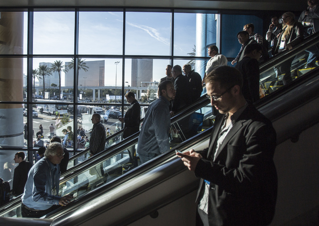 Conventioneers in the South Hall of the Las Vegas Convention Center during CES on Wednesday, Jan. 8, 2014. The Republican National Committee will be in Las Vegas on Thursday as part of the evaluat ...