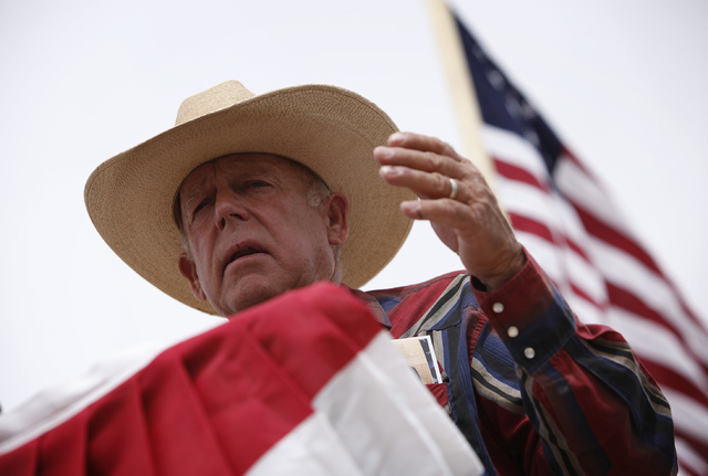 Cliven Bundy speaks at a protest camp near Bunkerville on Friday, April 18, 2014. (John Locher/Las Vegas Review-Journal)