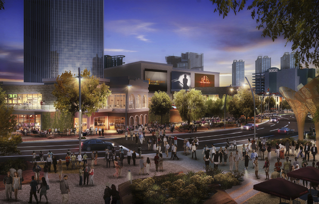 Artist's rendering, MGM Resorts International plan for an eight-acre outdoor destination on the Strip that will connect the New York-New York and Monte Carlo with a pedestrian-friendly neighborhoo ...