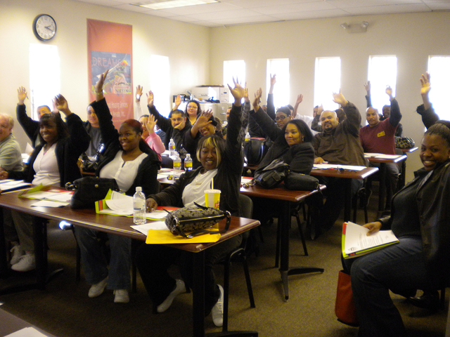 Students participate in a homebuyer class at Neighborhood Housing Services of Southern Nevada at 1849 Civic Center Drive in North Las Vegas. (Special to View)