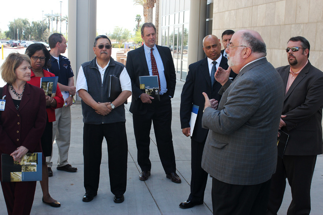 North Las Vegas Mayor John Lee, center, takes a tour of the College of Southern Nevada Cheyenne Campus for local high school principals, on Friday, March 28 in North Las Vegas. The tour is a resul ...