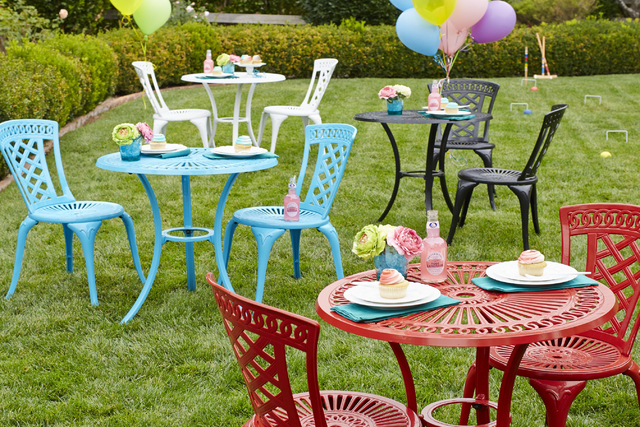 Courtesy Pier I Imports Old World charm meets new-school cool and has a garden party. Durable, rust-resistant cast aluminum and an openwork design make Neely appeal-y. Vibrant hues makes it irresi ...