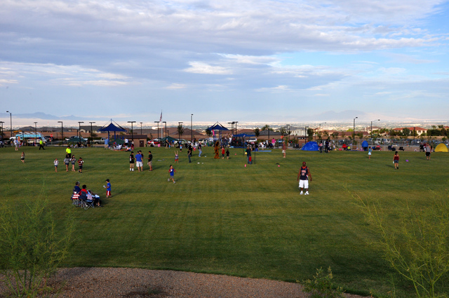 People gather at Knickerbocker Park in Las Vegas for the 4th of July firework celebration in 2013. (Special to View)