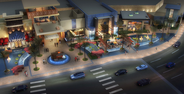 Rendering of Restaurant Row at the front of the Red Rock Resort in Summerlin. Station Casinos is spending $35 million to redevelop two entrances to the eight-year-old hotel-casino, part of which w ...