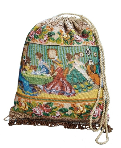 This Early 19th Century Beaded Pouch Bag Pictures Las At Tea On One Side And