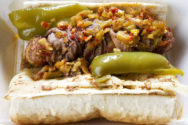 Al's Combo Beef & Sausage sandwich is on the menu at Al's Beef restaurant at 6840 W. Sahara Ave. (Jeferson Applegate/Las Vegas Review-Journal)