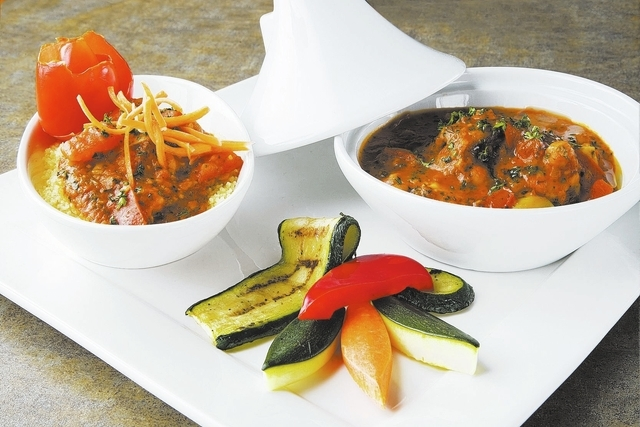 Moroccan Chicken Tajine with couscous in Harissa Sauce is displayed at Bernardճ Bistro located at 2021 W. Sunset Road in Henderson on Wednesday, April 9, 2014. (Jeferson Applegate/Las Vegas  ...