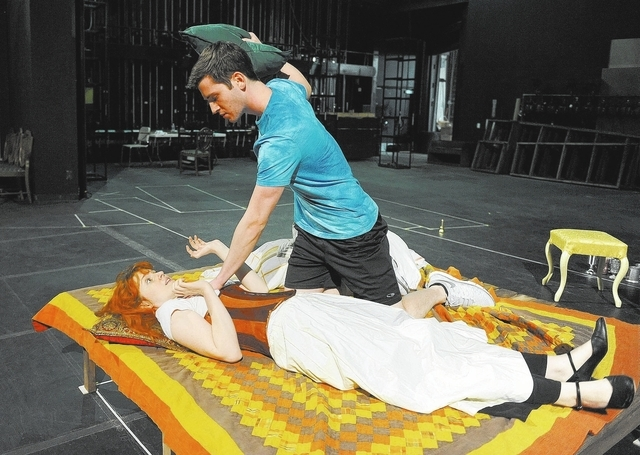 "Nicole Unger, as Margaret Hughes, and Josh Nadler, as Edward Kynaston, are seen during rehearsal in the the play ""Compleat Female Stage Beauty,"" on the Cheyenne campus of the College ..."