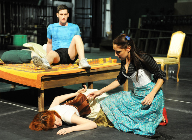 "Josh Nadler, as Edward Kynaston, Nicole Unger, as Margaret Hughes, left, and Cynthia Vodovoz, as Maria, are seen during rehearsal in the the play ""Compleat Female Stage Beauty,"" on t ..."