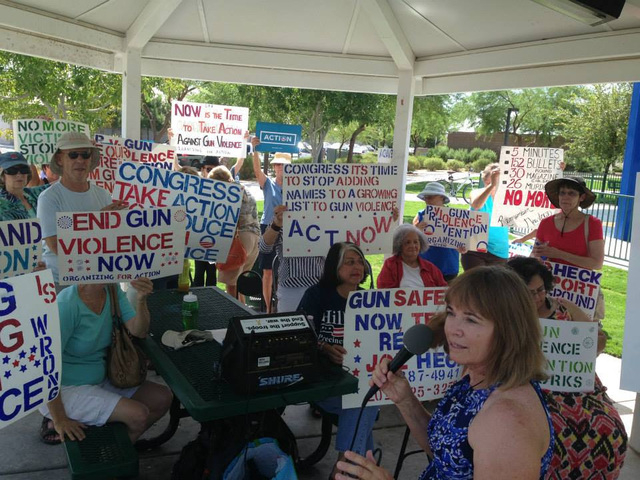 Teresa Crawford speaks to a crowd at a gun prevention rally Aug. 21 at Pebble Park. Crawford was recently honored by the White House for her grassroots activism. (Special to View)