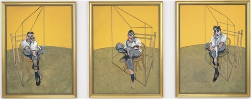 """Elaine Wynn purchased """"Three Studies of Lucian Freud,"""" a triptych by Francis Bacon of his friend and artist Lucian Freud, for $142.4 million last year. (AP Photo/Christie's)"""