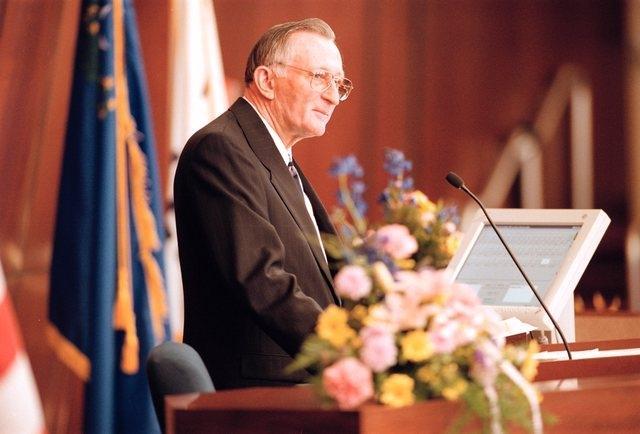 Joe Dini, D-Yerrington, takes the podium as speaker of the Assembly for a record eigth time on opening day of the Nevada Legislature in Carson City Feb. 1, 1999. (K.M. Cannon/Las Vegas Review-Journal)