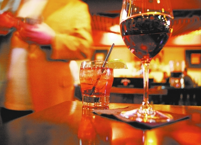 Beverages are shown at the Double Helix Wine & Whiskey Bar at Town Square in Las Vegas on Saturday, Jan. 14, 2012. The restaurant is located near The Rave Motion Picture complex at the retail cent ...