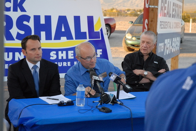 Nye County Assistant Sheriff Rick Marshall held a 30-minute press conference Thursday night. (Matt Ward/Pahrump Valley Times)