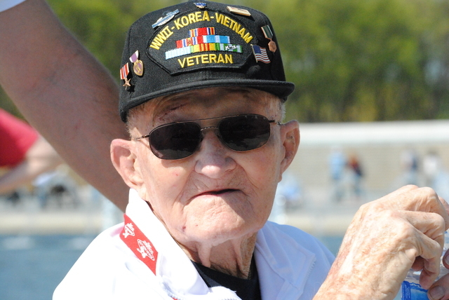 Las Vegas Army veteran Leo Mazer, 89, still carries shrapnel in his leg from his service in the Philippines during World War II. He also served in the Korean War and Vietnam War. (Peter Urban/Step ...