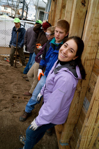 Frank Garrison, left, Jacque Balderas and students from the University of Redlands in California spent their spring break volunteering in Breezy Point, New York helping victims of Hurricane Sandy, ...