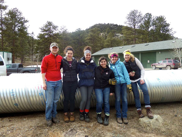 Frank Garrison, left, Katherine Gutierrez, Gianna Zazzarino, Arbela Ternian, Hannah Litton and Ashton Martin spent their 2014 spring break in Boulder, Colorado to help families affected by the Sep ...
