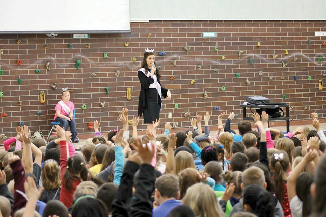 Special to view Miss Northeast Nevada Ellie Smith gives a speech on bullying to students at Mountain View Elementary School on March 10.