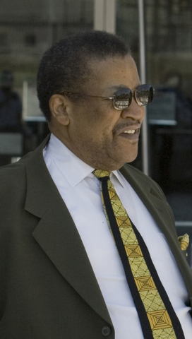 Former Second Baptist Church pastor Willie Davis, namesake of Willie Davis Street, exits the Lloyd George U.S. Courthouse on June 27, 2007, following his hearing in connection with defrauding the  ...