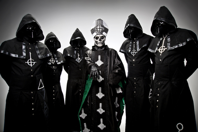 Sweden's Ghost (that's frontman Papa Emeritus rocking the papal mitre in the center) make an appearance at Eastside Zia Records on Friday afternoon before the band's House of Blues show. (Ester Se ...