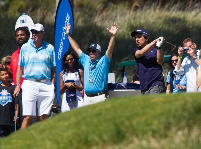 Actor and comedian Ray Romano tees off at the 13th hole on the final day of the Michael Jordan Celebrity Invitational at Shadow Creek Golf Course in North Las Vegas on Sunday, April 6, 2014. (Chas ...