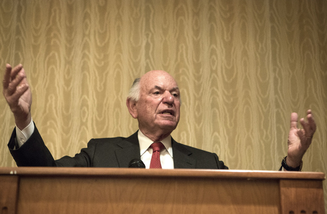 Mike Leven, president and chief operating officer of Las Vegas Sands Corp., speaks at a VIP breakfast at South Point hotel-casino on Friday, April 11, 2014. The event to kick off this weekend's Ne ...