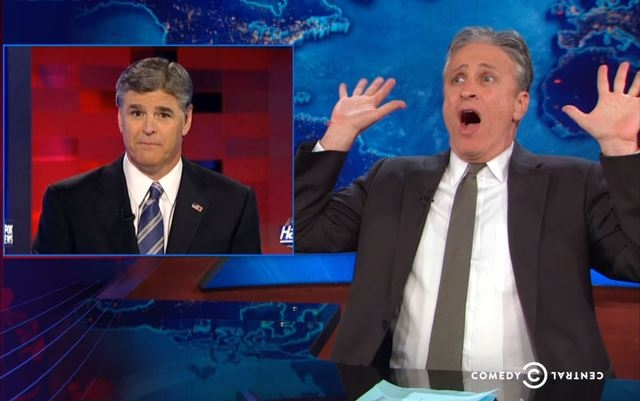 Jon Stewart and Sean Hannity are at battle over each other's Cliven Bundy coverage. (Comedy Central)