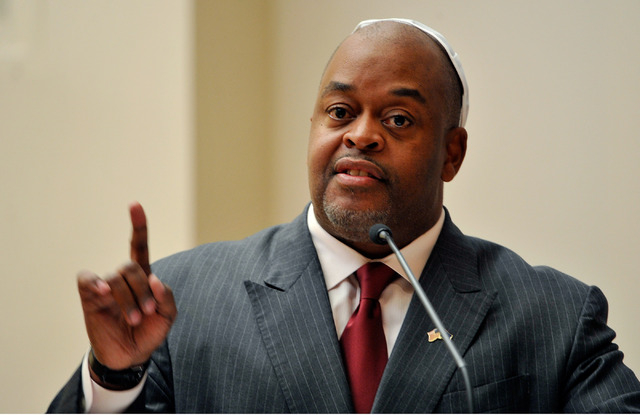 Niger Innis speaks during a debate against Assemblyman Cresent Hardy, R-Mesquite at Temple Beth Sholom on Tuesday, April 29, 2014. The two congressional candidates are competing to win the June 10 ...