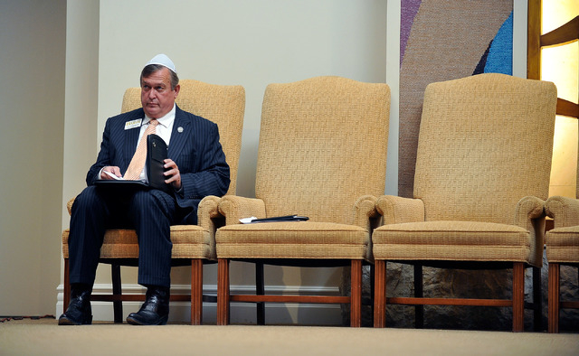 Assemblyman Cresent Hardy, R-Mesquite, reviews his notes before a debate against Niger Innis at Temple Beth Sholom on Tuesday, April 29, 2014. The two congressional candidates are competing to win ...