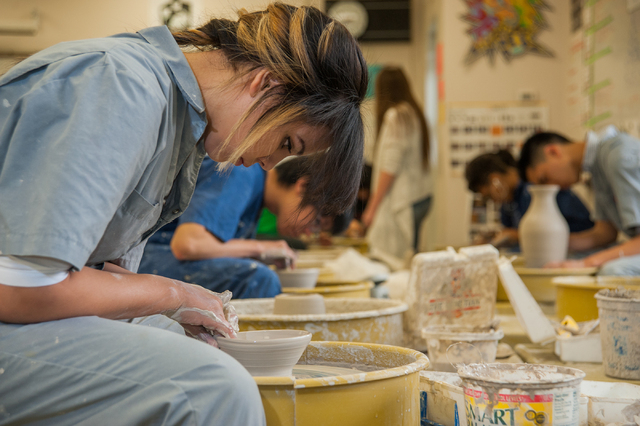 Green Valley High School student Cherie Diaz, 17, wheel throws a clay bowl during her Ceramics 1 class at Green Valley High School in Henderson, Nev., Friday, March 21, 2014. (Martin S. Fuentes/La ...