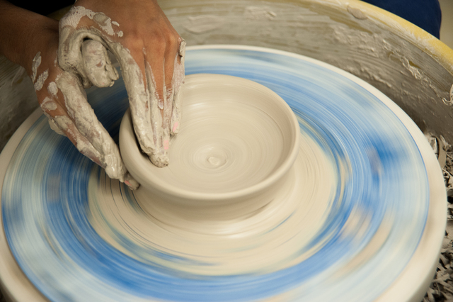 A Green Valley High School student wheel throws a clay bowl during a Ceramics 1 class at Green Valley High School in Henderson, Nev., Friday, March 21, 2014. (Martin S. Fuentes/Las Vegas Review-Jo ...